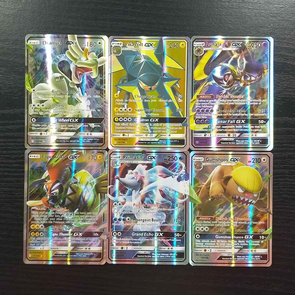 TAKARA TOMY Pokemon Cards Deck Board Game Children Toys 60 GX Flash Cards Sun Moon Collections Battle Shining Card