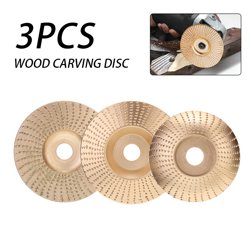 3Pcs/Set Wood Grinding Wheel Angle Grinder Disc Wood Carving Shaping Disc Sanding Abrasive Tool Tungsten Carbide Gold