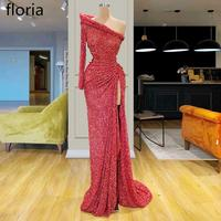 Modest Red Glitter Long Prom Dress Mermaid One Shoulder Muslim Sexy vestidos de fiesta de noche Turkish Formal Dress Party Gowns