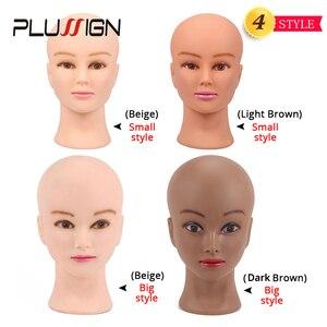 Image 2 - Plussign 20,5 дюйма голова манекена для париков с подставкой, лысый парик с подставкой, пенная головка для макияжа белого и темно коричневого цвета