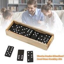 Jeu de plateau de dominos en bois, jeu de Table amusant de voyage, outils d'enseignement, Double 6 dominos, ensemble de cartes de Puzzle, dominos noirs
