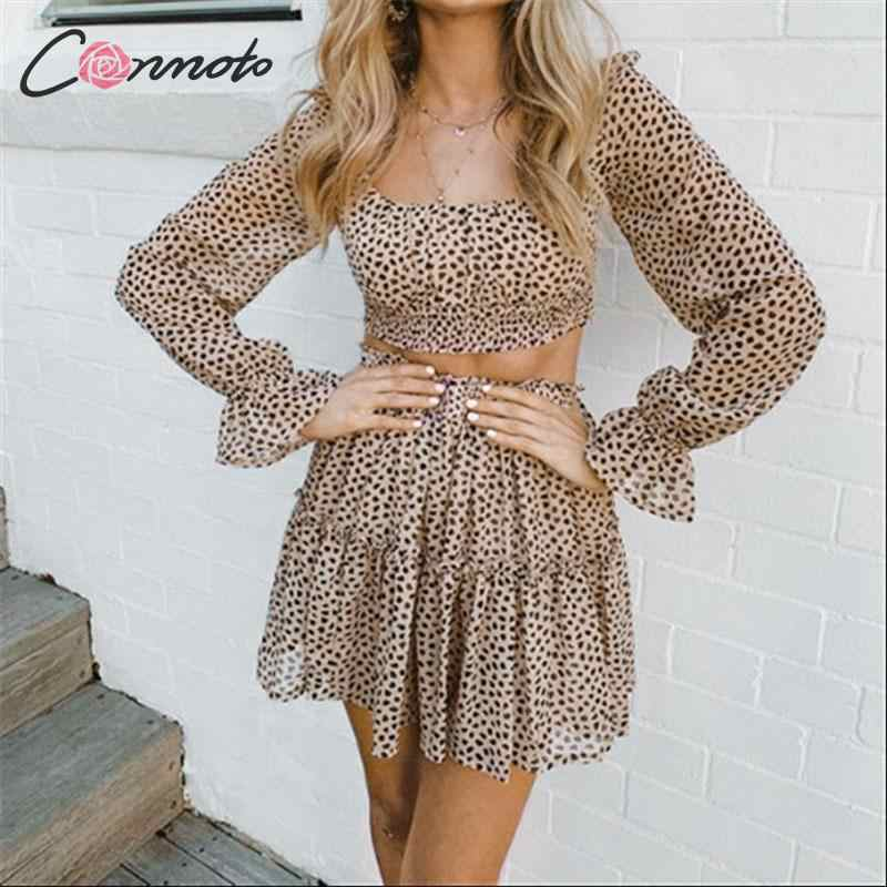 Conmoto Fashion Leopard Women Crop Tops and Skirt Suit Female Casual Square Collar Long Sleeve Blouse High Waist A-Line Skirts