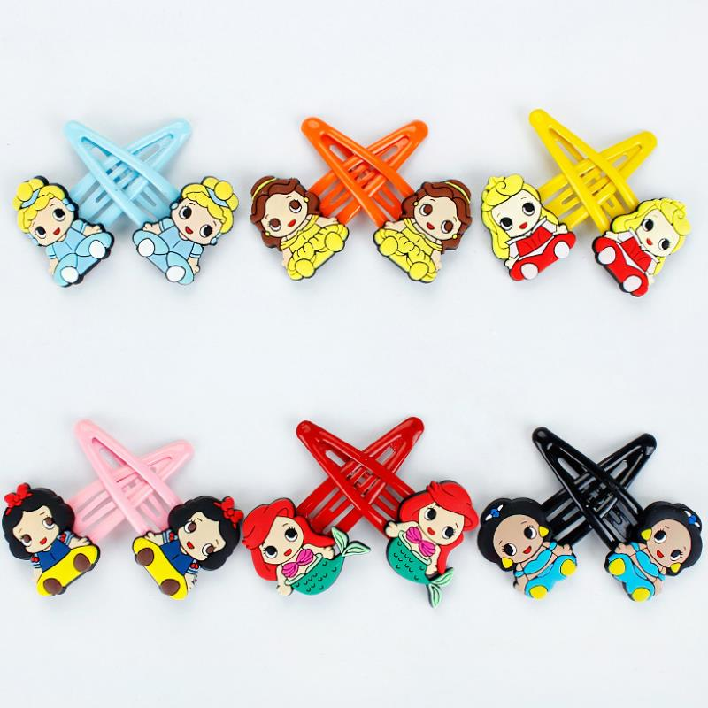 1Pair exquisite Cartoon cute Princess series Mermaid Snow White Comics Hairpin Hair Clip for Girls Gift Figure Toys image