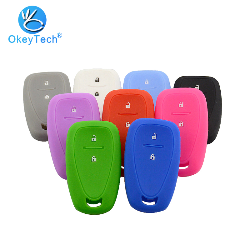 OkeyTech For Chevrolet Cruze Spark Silicone Car Key Case 2 Button Smart Silicon Mold Remote Key Cover Holder Fob Accessories