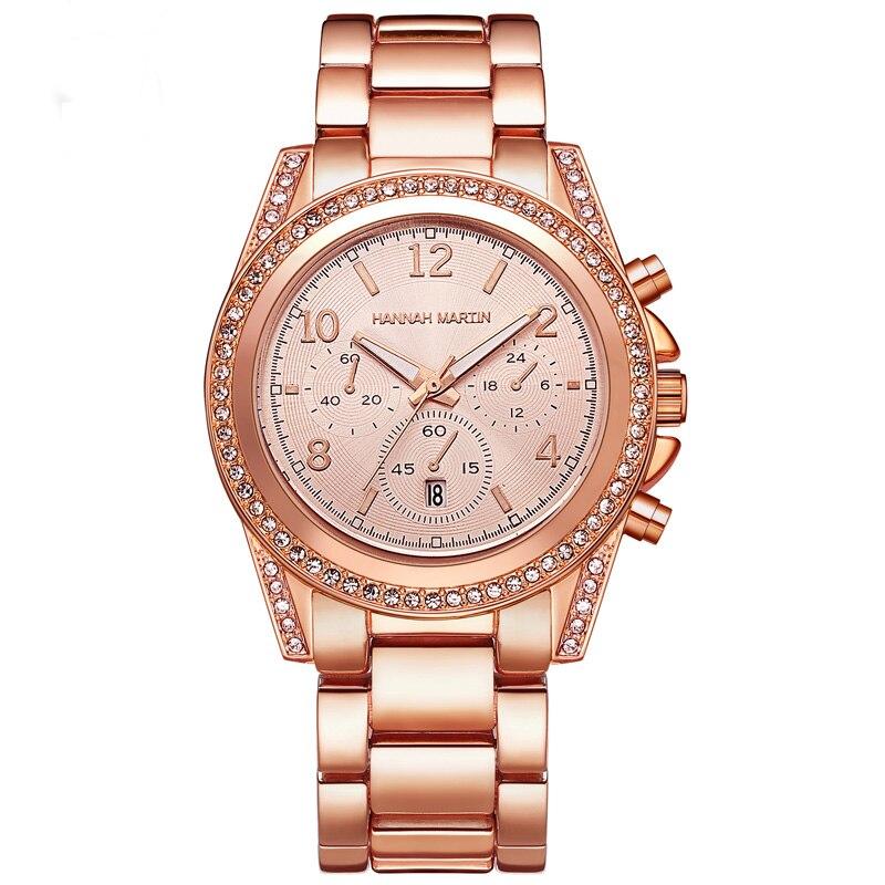 Image 3 - 2019 Top Luxury Brand Women Rhinestone Rose Gold Sport Watches Montre Femme Calendar Waterproof Fashion Dress Ladies Gift WatchWomens Watches   -