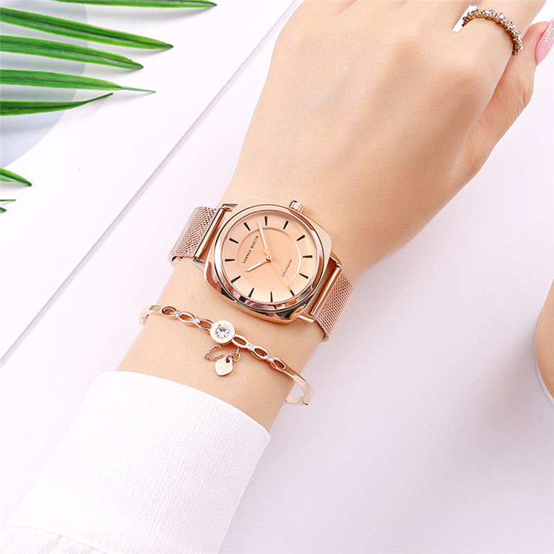 Fashion Rose Gold Women Watches Waterproof Double Layer Hollow Dial Luxury Ladies Watch Steel Mesh Belt Elegant Reloj Mujer