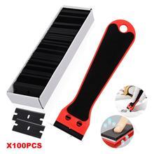 Foshio Koolstofvezel Auto Wrap Sticker Remover Scheermes Schraper Schoonmaak Tool 100 Stuks Blade Vensterglas Keuken Oven Schoon zuigmond