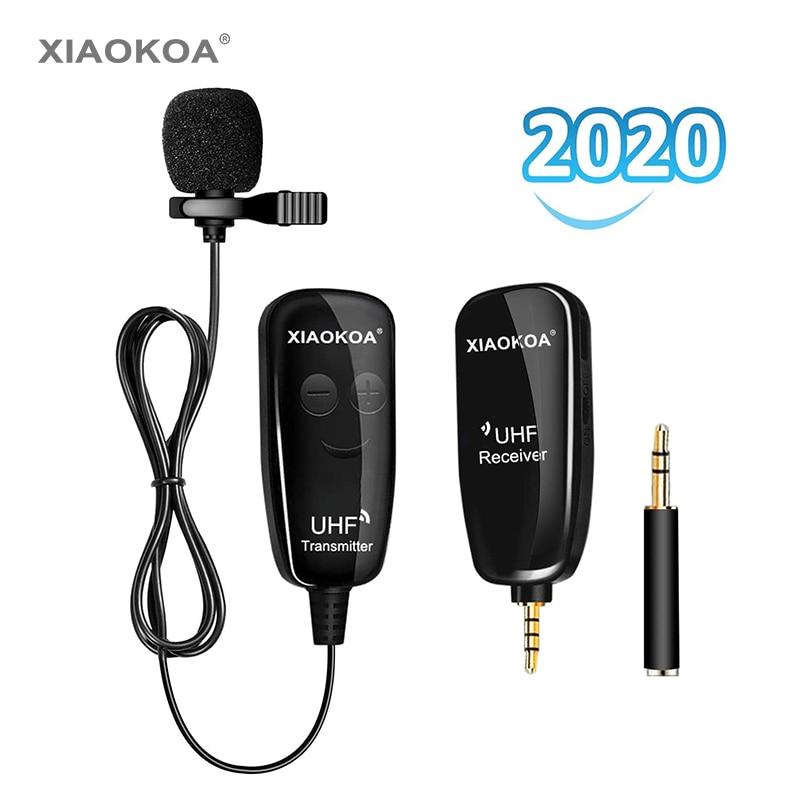 XIAOKOA UHF Lavalier micrófono inalámbrico para grabación, Youtube, en vivo, entrevista, micrófono para Iphone, Android, PC, reducción de ruido