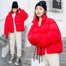 Зимнее Новое Стильное хлопковое пальто в Корейском стиле для студентов женская короткая модная плотная короткая куртка с хлопковой подкладкой