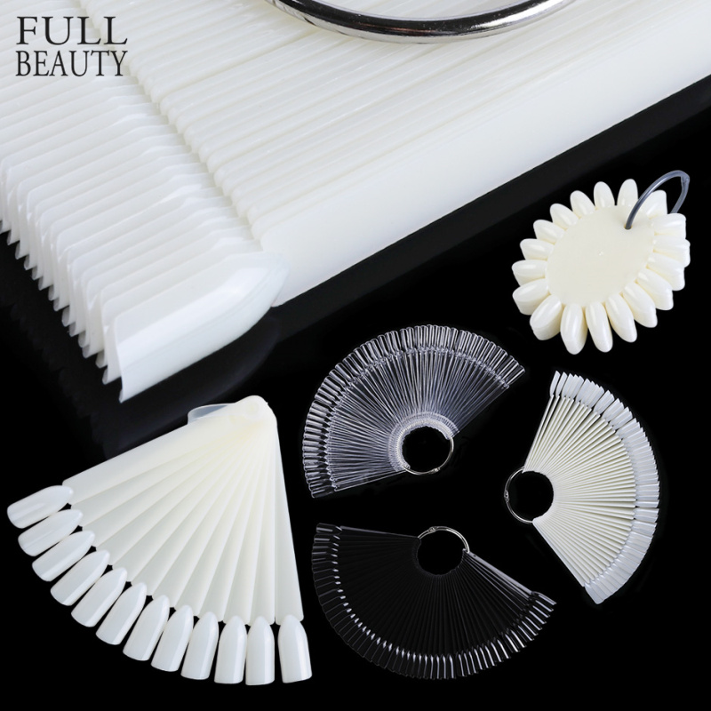 Fake Nails False Acrylic Display Natural Clear Fan Board Nail Art Varnish Polish Tips Practice Card Manicure Palette CH386-1