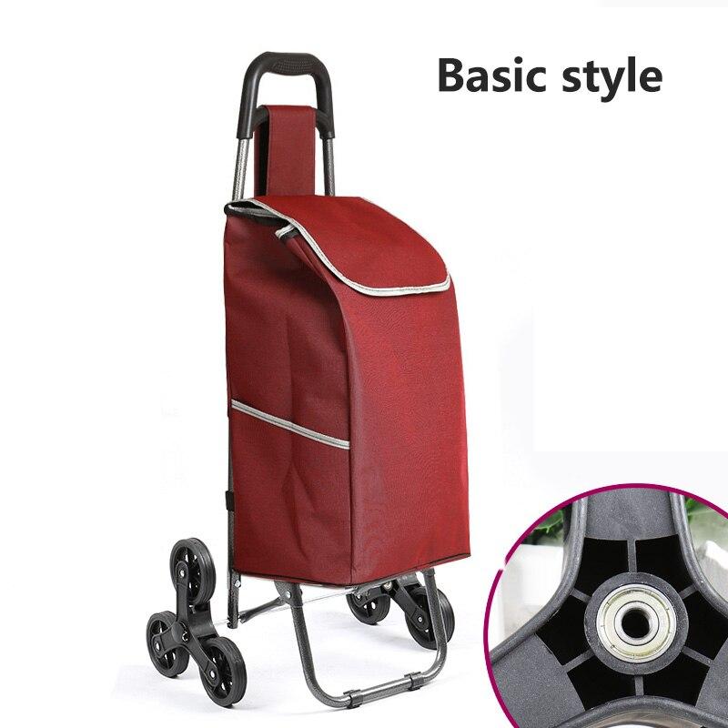 Поднимайтесь вверх, тележка для покупок, большие товары, товары, чехол на колесиках, складная тележка для прицепа, бытовая Портативная сумка для покупок, женская сумка - Цвет: Basic style 2