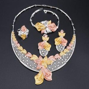 Image 2 - Di modo Africano Set di Gioielli di Marca Dubai Argento Placcato la Collana di Cristallo Dei Monili Degli Orecchini Set Nigeriano di Perle Da Sposa Insieme Dei Monili