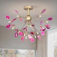 natural agate chandelier with pink purple blue green brown grey yellow colorful agate slices hanging light G4 presented ce ul gs