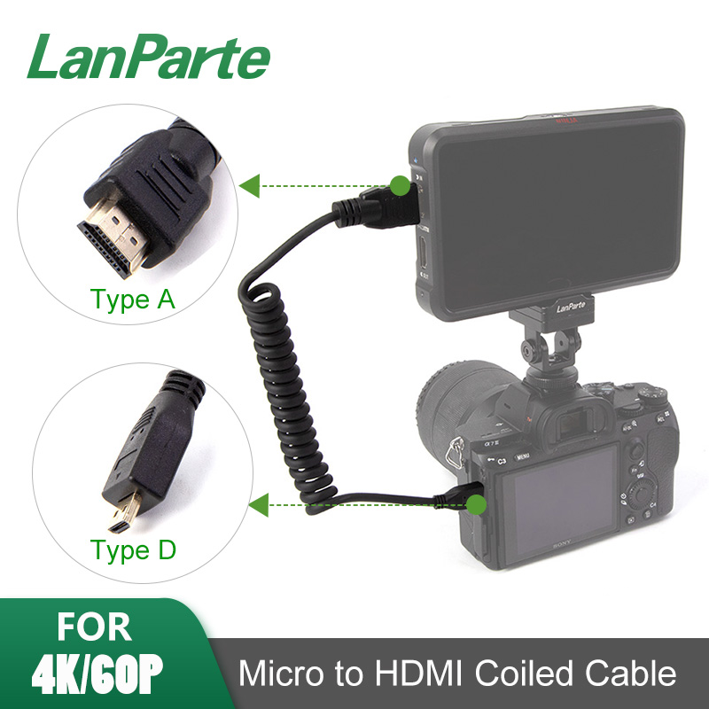 LanParte4K 60P 8 Bit Coiled Micro HDMI Cable to Standard HDMI for SONY A7R4 A7M3 A9  (HDMI2.0) 1