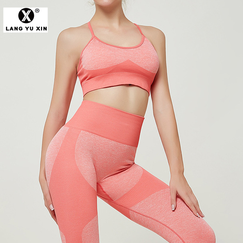 Women's Workout High Waist Elastic Tight Hip Pants and Bras Sets Tummy Control Capris Leggings Gym Running Fitness Yoga sets