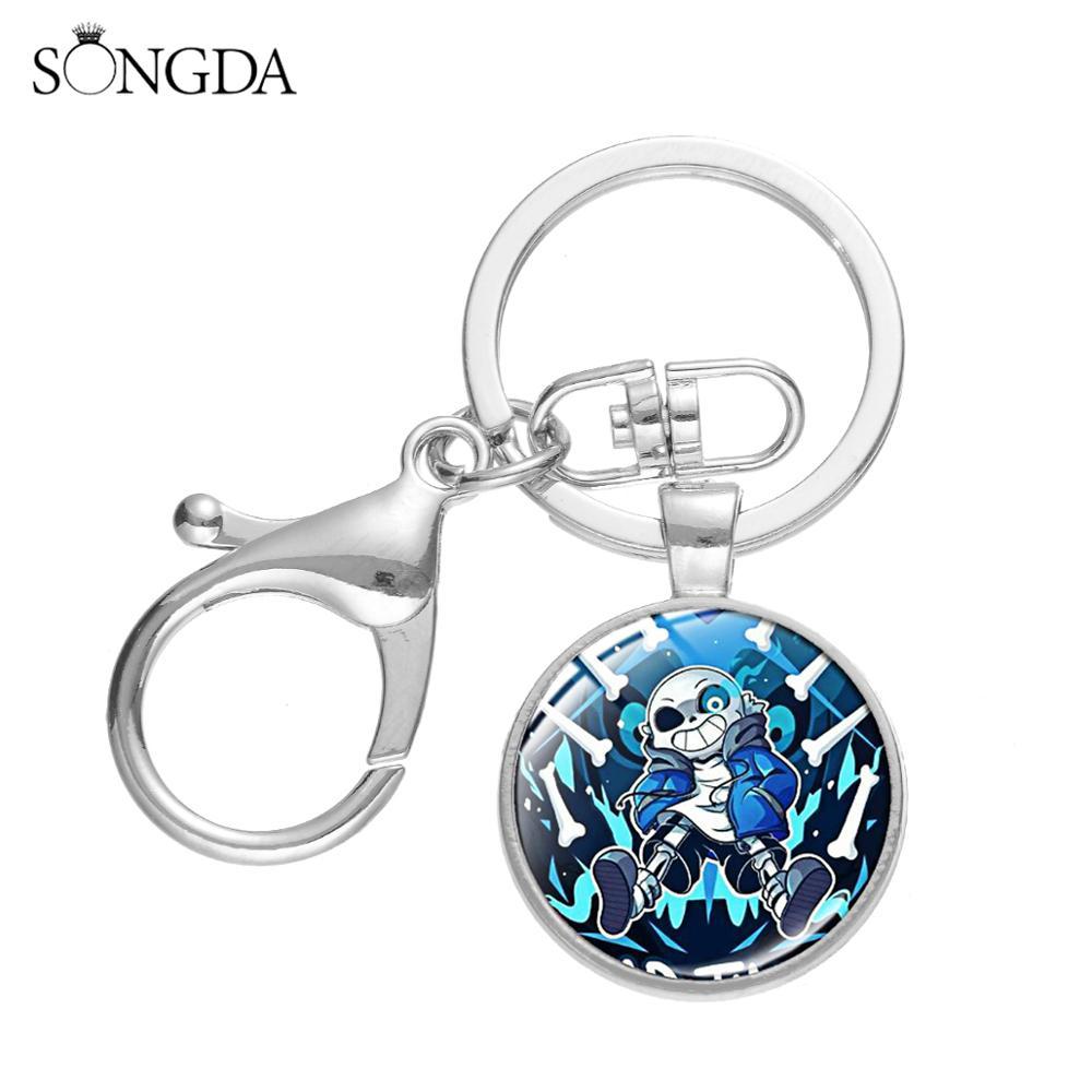 SONGDA Fashion Anime Game Undertale Keychain Cartoon Sans Art Poster Glass Cabochon Metal Key Ring Key Accessories Fans Souvenir