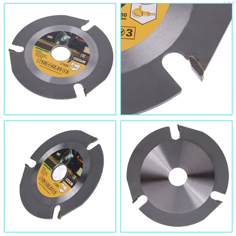 Woodworking Blade For Angle Grinder Disc For Wood Carving Cutting Shaping With 3 Teeth 7/8'' Arbor 5 Inch 125mm F1FC