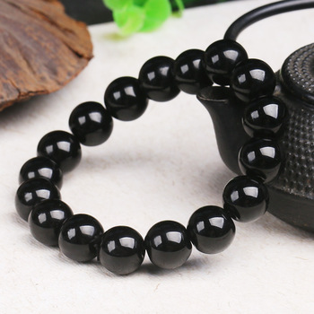 Natural Obsidian Jade 8-16MM Beads Bracelet Jadeite Jewelry Fashion Charm Accessories Hand-Carved Lucky Amulet Gifts for Women image