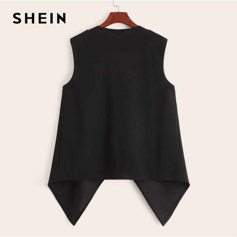 SHEIN Plus Size Black Solid Waterfall Vest Coat Women Autumn Sleeveless Buttoned Shoulder Chic Casual Plus Outwear Coats 2