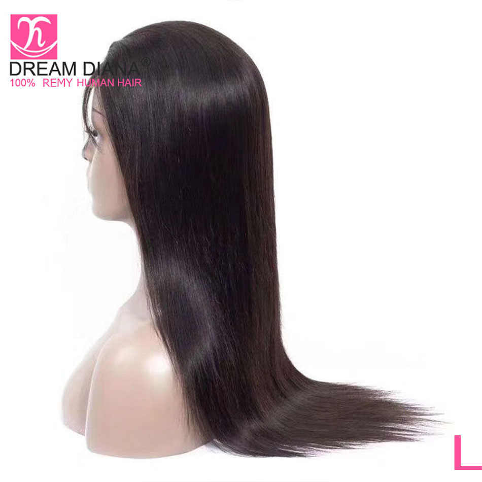 "DreamDiana Peruvian Full Lace Wigs 8-28""L Remy Straight Hair Full Lace Glueless Black 100% Pre Plucked Full Lace Human Hair Wig"