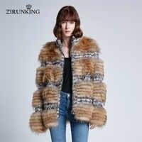 ZIRUNKING Frauen Mode Echt Waschbär Pelz Weibliche Warme Natürliche Pelz Jacke Winter Dicke Dame Oberbekleidung ZC1933