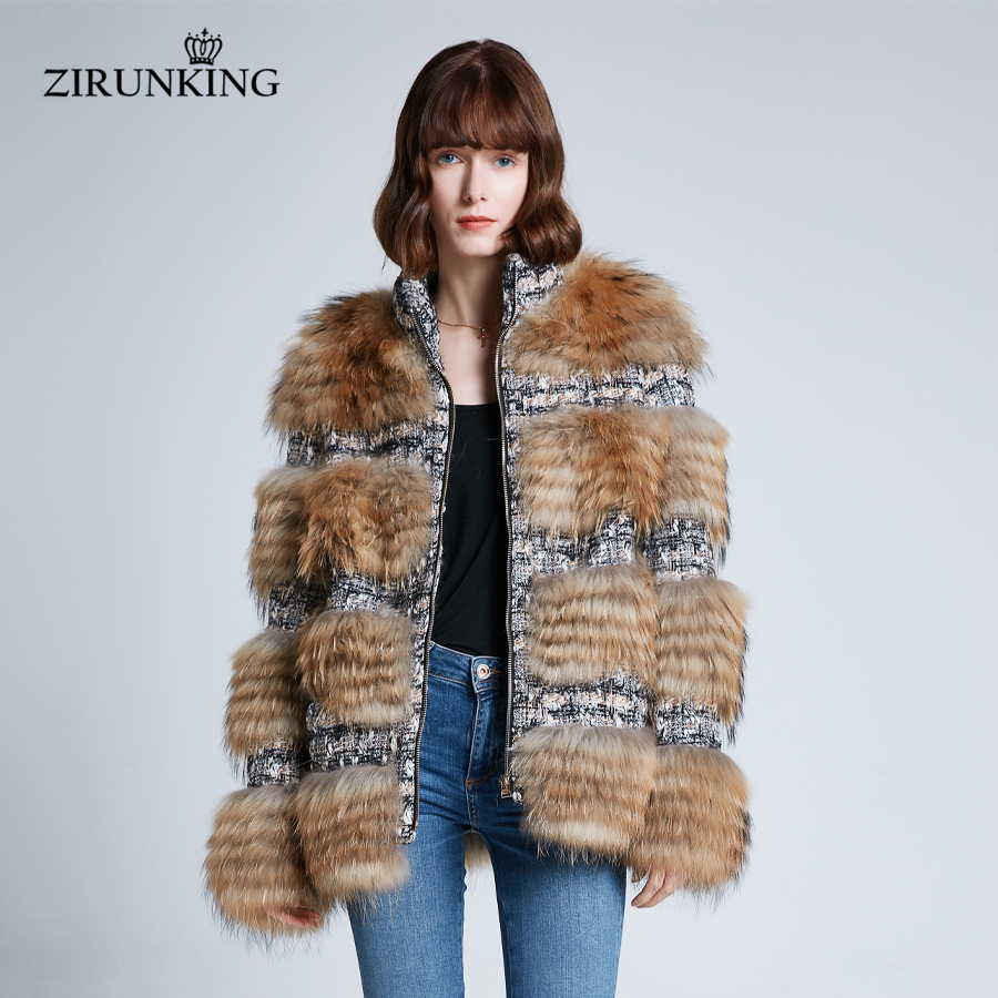 ZIRUNKING Mulheres Moda Real de Pele De Guaxinim Casaco Feminino Quente Natural Fur Jacket Inverno Grosso Lady Outerwear ZC1933