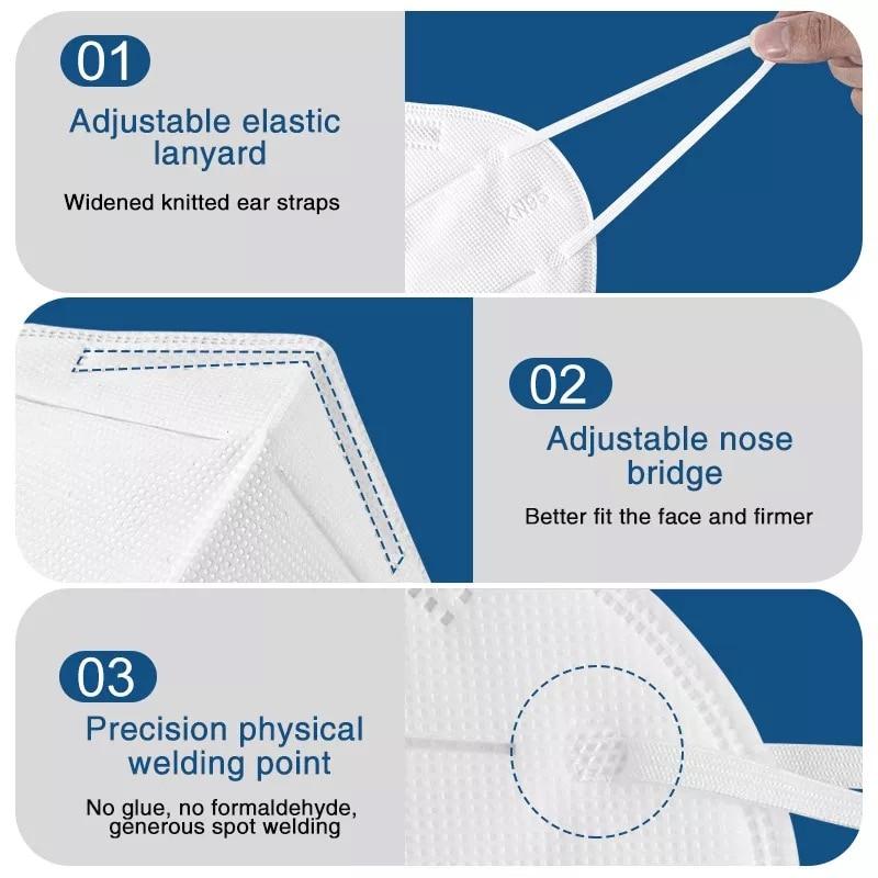 100 pçs ffp2 máscara facial kn95 máscaras de filtração máscara de poeira máscara de boca proteger anti-gripe mascarillas masque tapabocas 3
