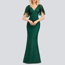 Sparkle Sexy Mermaid Evening Dresses Long Sequined V-Neck Gowns For Party Vestidos Largos Fiesta 2019 New Dress