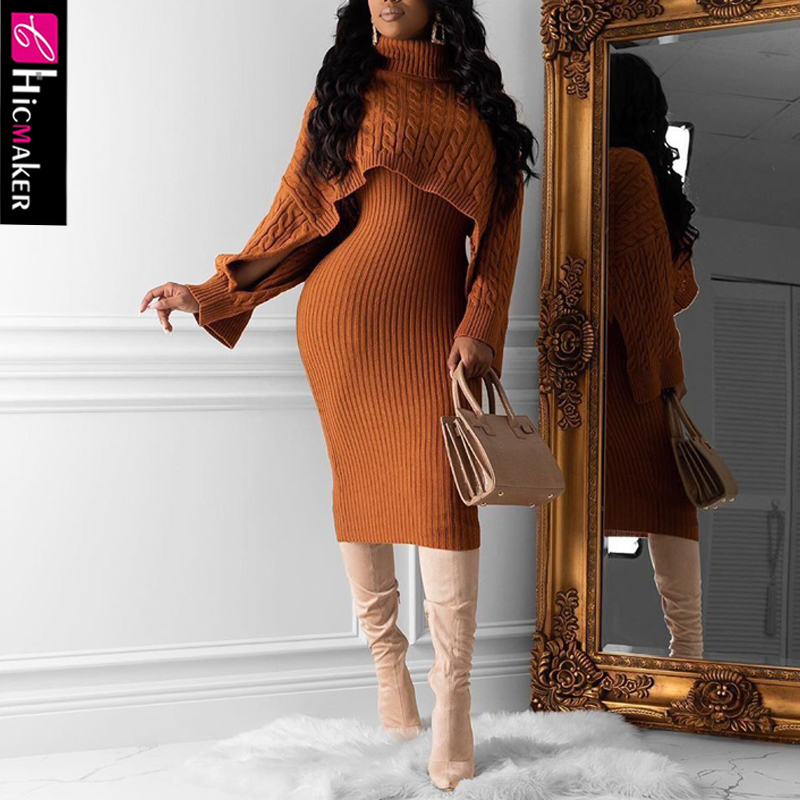 Women Two Piece Matching Sets High Neck Knitted Pullover Sweater & Spaghetti Strap Bodycon Dress Spring Fall Chic Suit