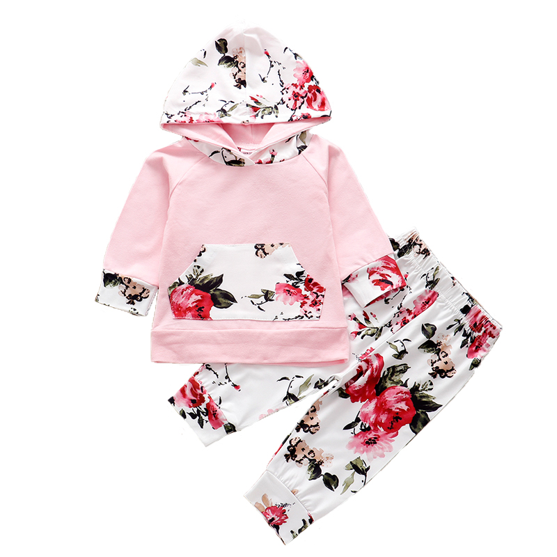 Newborn Baby Girls Autumn Outfits Long Sleeve Hooded Pocket Cotton Hoodie Sweatshirt Floral Pants Clothes Set 2Pcs