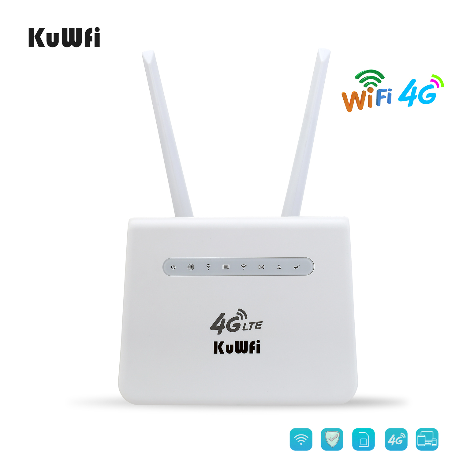 KuWFi  4G Router LTE CPE 300Mbps 4G SIM Card Router Mobile Wifi Hotspot 4G To LAN With Lan Port Work With 32 WiFi Users