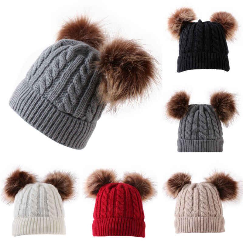 Piękny noworodek chłopiec dziewczyna czapka z pomponem ładny czapka dla dzieci zima ciepły dzianina szydełkowa Bobble czapka czapka New Arrival czapki dla dzieci czapki