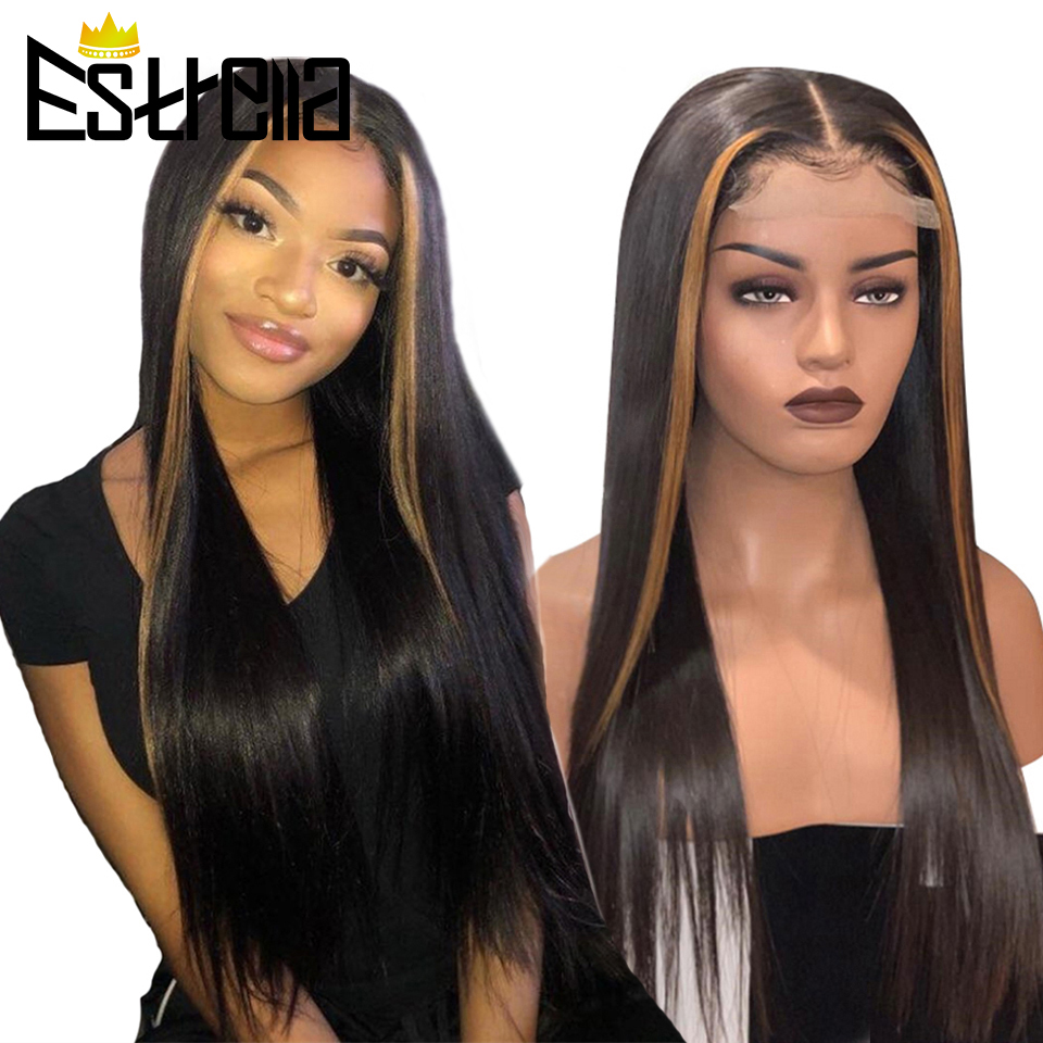 Honey Blonde Highlight Color Glueless Wig Straight 4x4 Lace Closure Human Hair Wigs 150% Density Brazilian Remy Highlight Wig