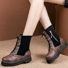 women mid-calf boots low heels lace up matin shoes woman chaussure zapatos mujer  wxz178
