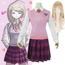 Danganronpa-disfraces de COSPLAY de Anime para mujer, kaade Akamatsu uniforme escolar, camisa/chaleco/falda/calcetines/peluca JK, novedad