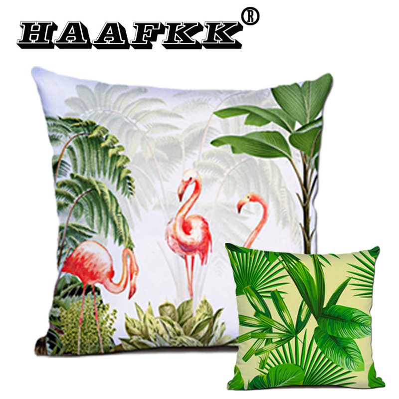 New Green Leaf Plant Cushion Cover Polyester Pillow 45x45cm Furniture Sofa Decorative Pillow Office Car Outdoor Waist Pad 40x40