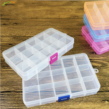 Practical Jewelry Storage Adjustable Plastic Compartment Box Earrings Cover Container Five Color