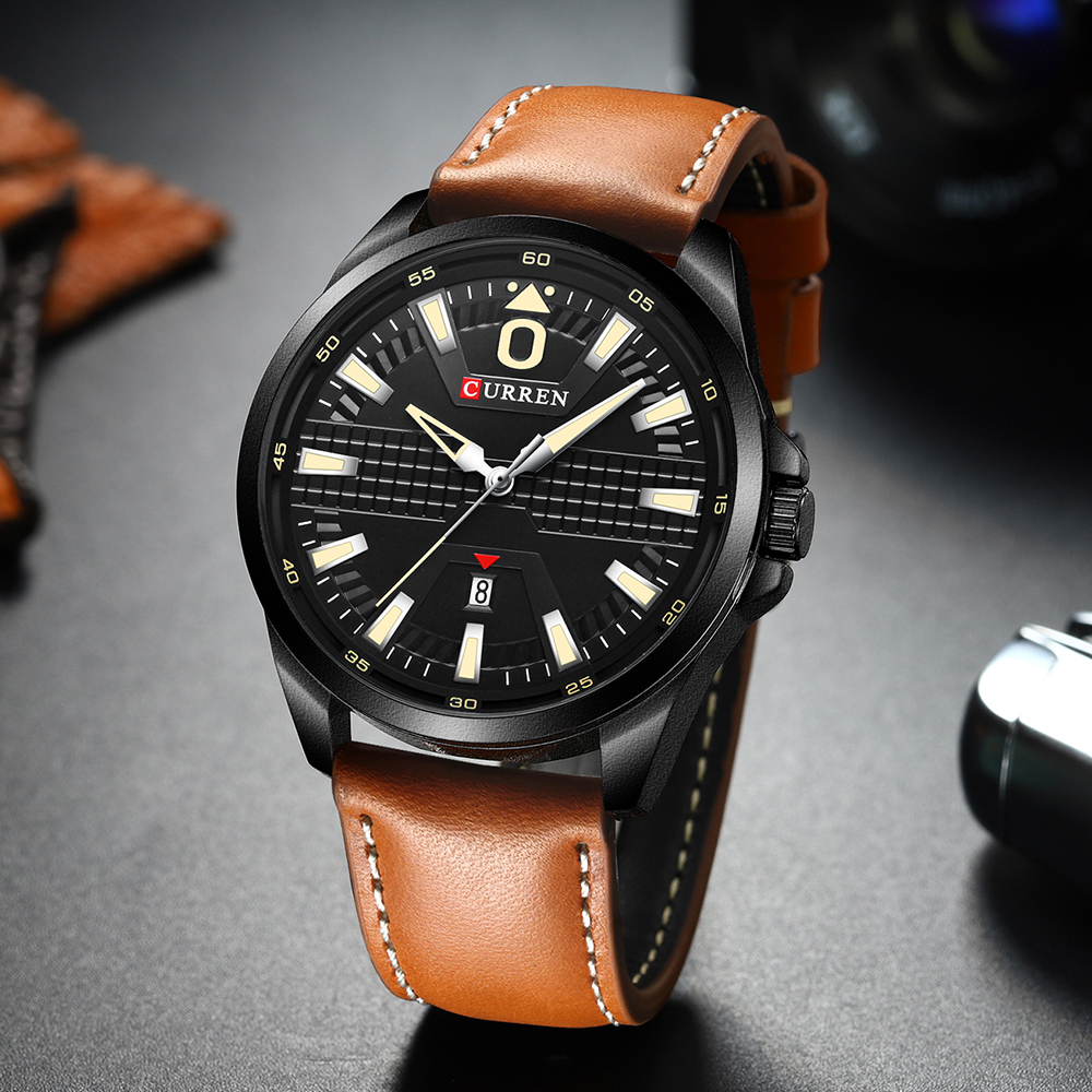 Creative Clock Watch Man Fashion Luxury Watch Brand CURREN Leather Quartz Business Wristwatch Auto Date Relogio Masculino