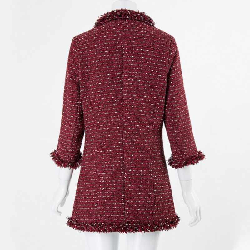 Mùa Thu Năm 2020 Nữ Tay Lửng Đỏ Tweed Áo Khoác Mùa Xuân Cổ Chữ V Áo Nữ Áo Slim Chiều Dài Trung Bình OL Sang Trọng Nữ Áo Khoác áo Khoác Ngoài