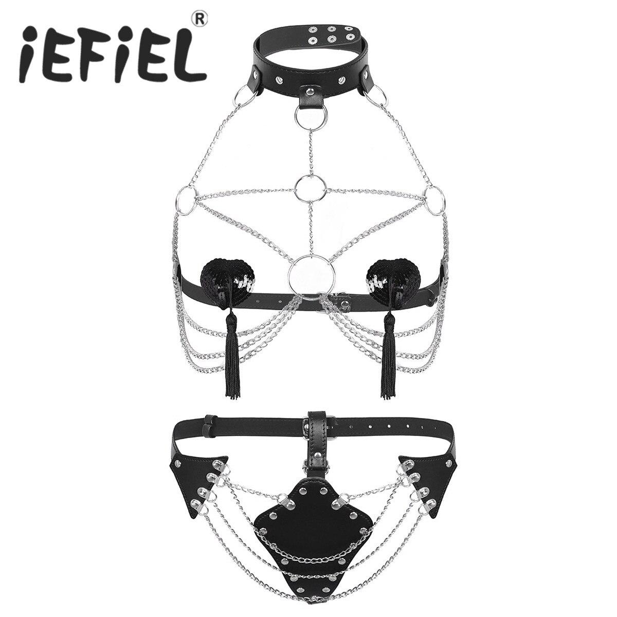 Women/'s Leather Body Chest Harness Cage Bra Belt Gothic Collar Choker Costua!