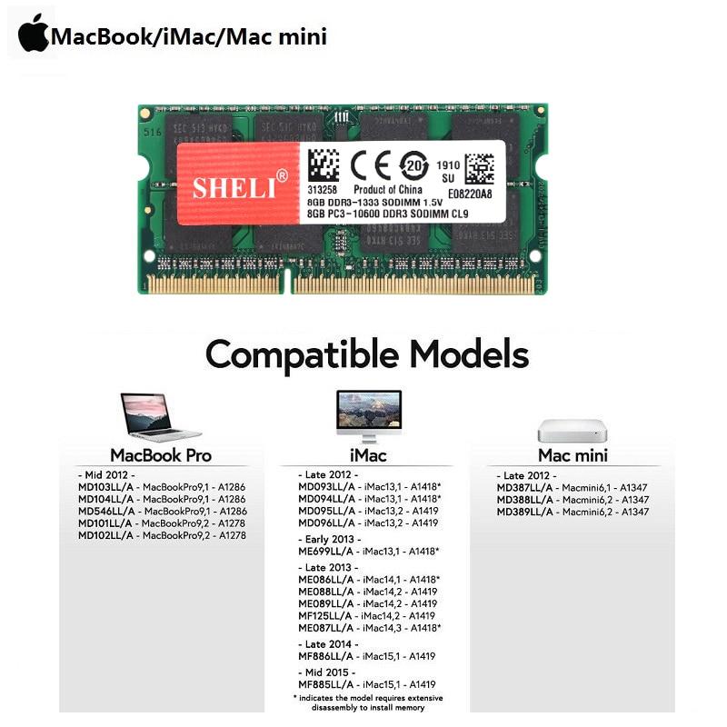 SHELI 8GB 16GB 2x 8GB 1333 MHz Late 2011 Early 2011 MacBook Pro A1286 MD322LL/A Memory RAM