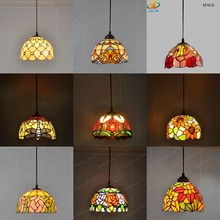 8 inch American stained glass chandelier Tiffany style restaurant sink bay window lighting European antique porch balcony light