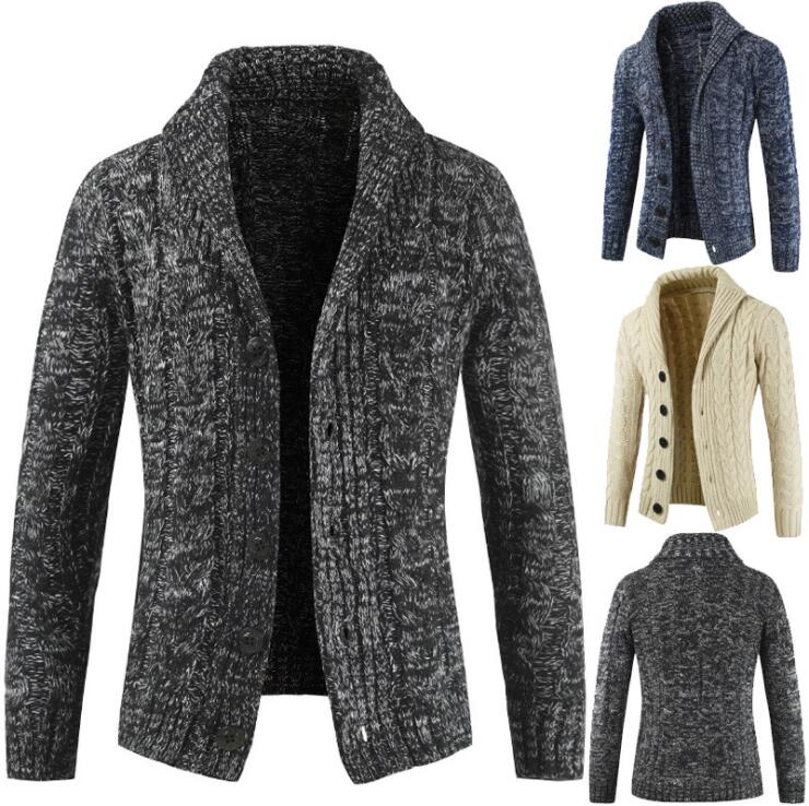 Men's Autumn Winter New Style Lapel Cardigan Sweater Long Sleeved Sweater Korean Trend Solid Color Large Size Jacket Male Coat
