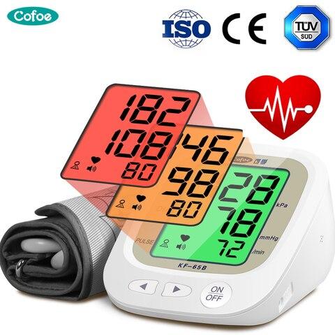 cofoe automatico monitor de pressao arterial braco superior medidor pulso bp batimento cardiaco tonometro digital