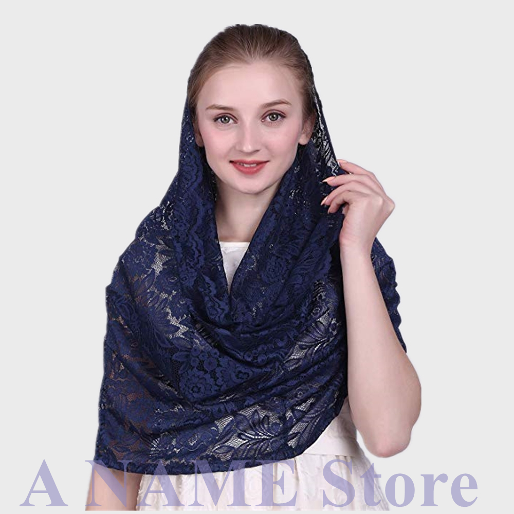 Navy Blue Round Lace Catholic Veil For Church Women Mantilla Infinity Headcovering Scarf Chapel Veil Latin Mass Short Velo Negra