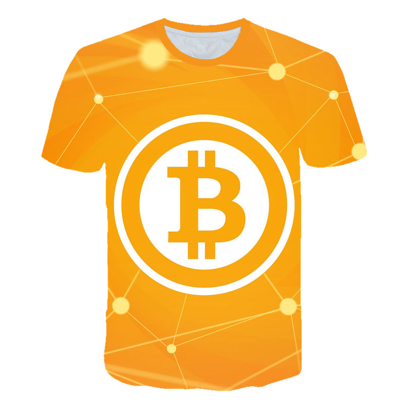 2021 latest summer men's 3d T-shirt Bitcoin printing casual streetwear loose short sleeves blockchain revolution cryptocurrency 4