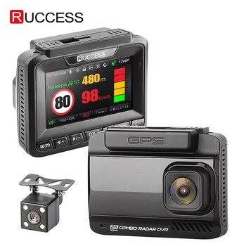 Ruccess Car DVRS 3 in 1 Radar Detector Dual Lens Full Hd 1080P Car DVR 1296P Car Camera GPS Video Recorder Anti Radar Dash cam 2 4 car dvr car radar detector english