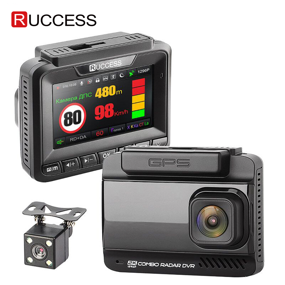 Ruccess Car DVRS 3 in 1 Radar Detector Dual Lens Full Hd 1080P Car DVR 1296P Car Camera GPS Video Recorder Anti Radar Dash cam