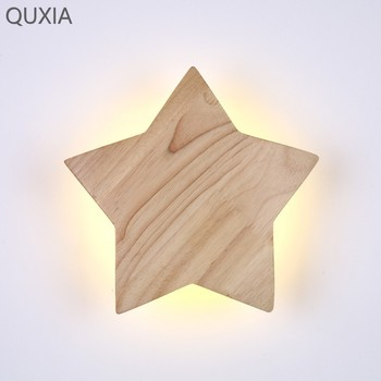 Creative Wood Art Led Star Wall Light Japanese And Korean Modern Style For Home Study Children's Room Bedroom Decorative Lamp tuda free shipping art deco style originality solid wood wall lamp for bedroom sitting room porch ngau tau led wall lamp e27