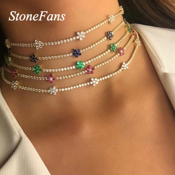 Stonefans Statment Gold Chain Multicolor Star Necklace Rhinestone for Women Simple Flower Crystal Choker Necklace Chain Jewelry